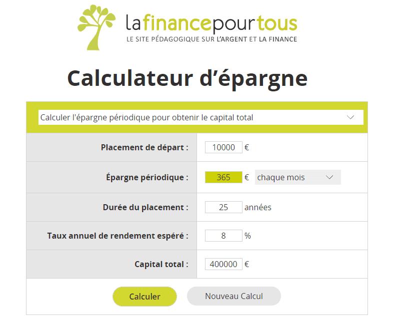 Calculateur d'épargne - la finance pour tous